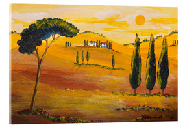 Tableau en verre acrylique  Sunshine in Tuscany in the Morning - Christine Huwer