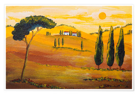 Poster  Sunshine in Tuscany in the Morning - Christine Huwer