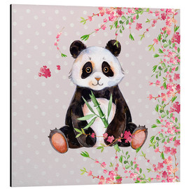 Tableau en aluminium  Little panda bear with bamboo and cherry blossoms - UtArt