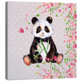 Tableau sur toile  Little panda bear with bamboo and cherry blossoms - UtArt