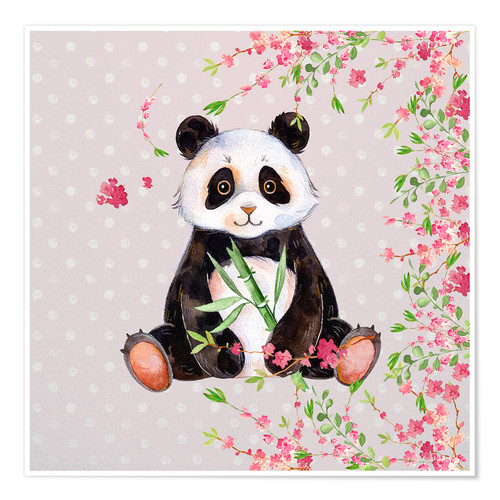Poster Little panda bear with bamboo and cherry blossoms