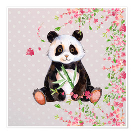 Poster  Little panda bear with bamboo and cherry blossoms - UtArt
