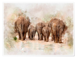 Poster  Elephants in the savannah in Africa - Peter Roder