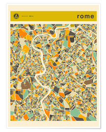 Poster  Carte de Rome - Jazzberry Blue