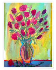 Poster Roses in glass vase