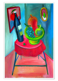 Poster  Table and wine - Diego Manuel Rodriguez