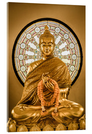 Tableau en verre acrylique  Buddha statue and Wheel of life background