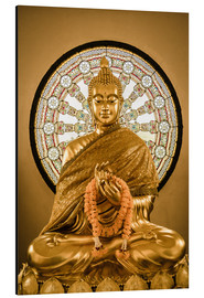 Alu-Dibond  Buddha statue and Wheel of life background
