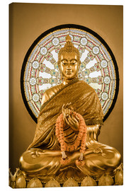 Tableau sur toile  Buddha statue and Wheel of life background