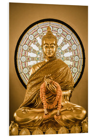 Tableau en PVC  Buddha statue and Wheel of life background