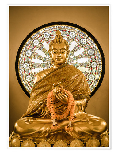 Poster Buddha statue and Wheel of life background