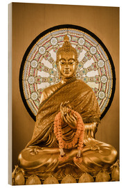 Bois  Buddha statue and Wheel of life background
