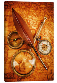 Tableau sur toile  Compass and Clock