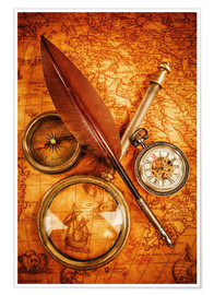 Poster  Compass and Clock