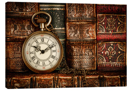 Toile  Clock in front of books