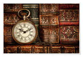 Poster  Clock in front of books