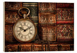Tableau en bois  Clock in front of books