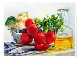 Poster tomatoes and olive oil