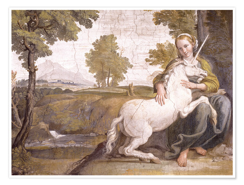 Poster Young woman with a white unicorn in her arms