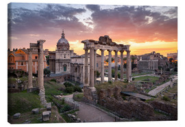 Tableau sur toile  Dramatic sunrise at the Roman Forum in Rome, Italy - Jan Christopher Becke