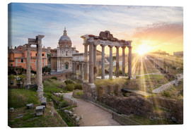 Tableau sur toile  Sunset at the Roman Forum in Rome, Italy - Jan Christopher Becke