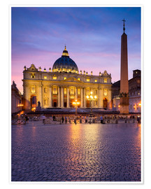 Poster St. Peter's and St. Peter's Square in Rome, Italy