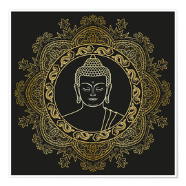 Poster Buddha in golden mandala