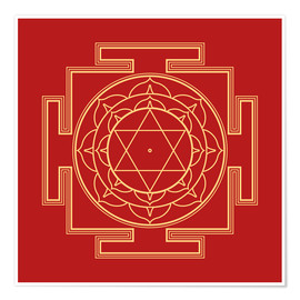Poster Mandala Gold on Red