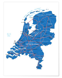 Poster Map Netherlands