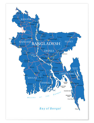 Poster map Bangladesh