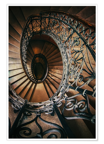 Poster Spiral staircase with ornamented handrail
