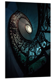 Tableau en PVC  Spiral staircase in blue and beige colors - Jaroslaw Blaminsky