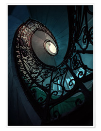 Poster  Spiral staircase in blue and beige colors - Jaroslaw Blaminsky