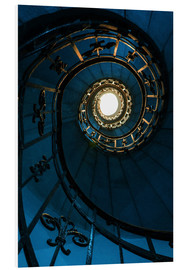 Tableau en PVC  Spiral staircase in blue colors - Jaroslaw Blaminsky