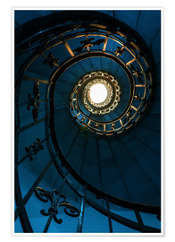 Poster Spiral staircase in blue colors