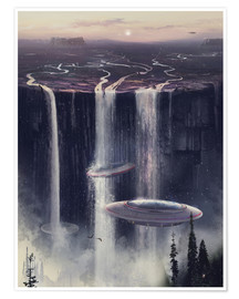 Poster UFO waterfall sl
