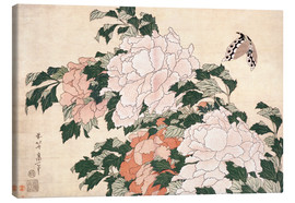 Tableau sur toile  Peonies and a butterfly - Katsushika Hokusai