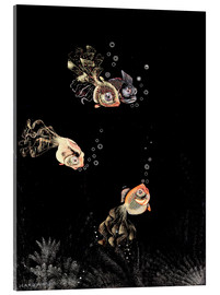 Tableau en verre acrylique  Underwater scene with red and golden fish - Jean Dunand