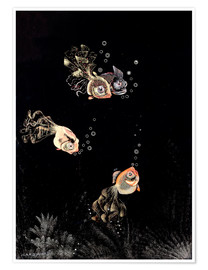 Poster Underwater scene with red and golden fish
