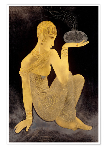 Poster Perfume girl with a censer