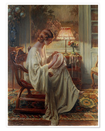 Poster A Lady Sewing in an Interior