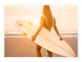 Poster  Surfeuse blonde