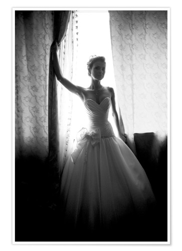 Poster Black and white silhouette of bride