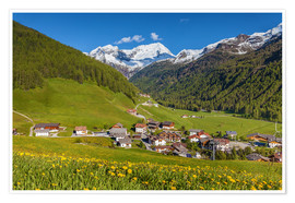 Poster Idyllic mountain village Rein in Taufers in South Tyrol