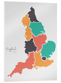 Tableau en verre acrylique  England map modern abstract with round shapes - Ingo Menhard