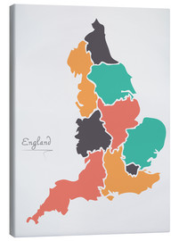 Tableau sur toile  England map modern abstract with round shapes - Ingo Menhard