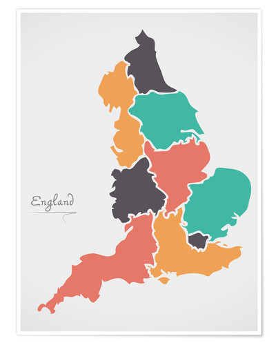 Poster England map modern abstract with round shapes