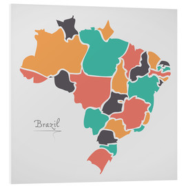 Tableau en PVC  Brazil map modern abstract with round shapes - Ingo Menhard