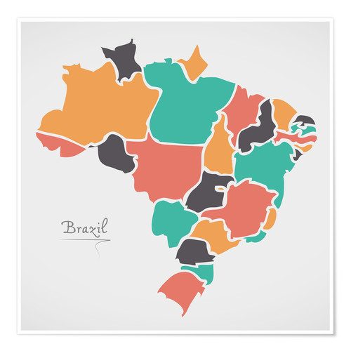 Poster Brazil map modern abstract with round shapes