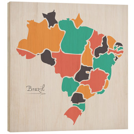 Tableau en bois  Brazil map modern abstract with round shapes - Ingo Menhard